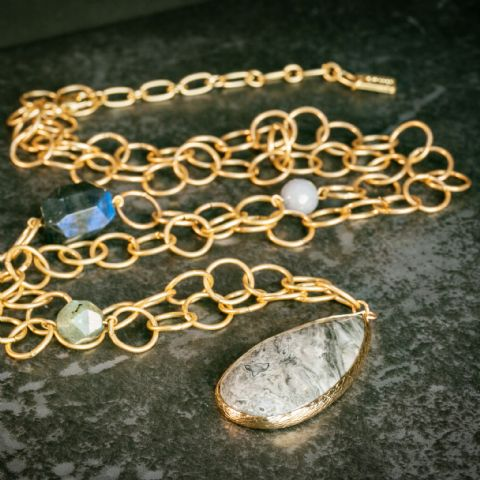 CHAIN & STONE NECKLACE